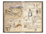 Album du Maroc: vue des remparts et de la ville de Tanger  en bas : arcades et deux arabes dont
