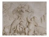 Grisaille en trompe-l'oeil imitant un bas-relief (d'une série de six)  dessus de porte
