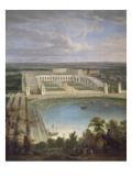 Vue de l'Orangerie et du château de Versailles depuis les hauteurs de Satory  au premier plan  la