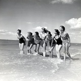"Marquis De Cuevas"" Company on the Beach at Deauville: 7 Girls  7 Nationalities"