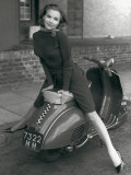 Posing on Motor Scooter