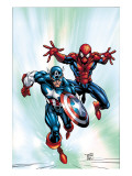Marvel Age Team Up No2 Cover: Spider-Man and Captain America Fighting and Flying