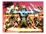 New Mutants No1 Cover: Magik  Moonstar  Karma  Magma  Sunspot  Warlock and Legion