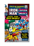 Tales Of Suspense No65 Cover: Iron Man  Captain America  Bucky and Red Skull Swinging