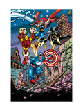 Avengers 21 Cover: Captain America  Thor  Iron Man  Black Panther and Avengers
