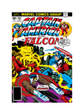 Captain America And The Falcon No205 Cover: Captain America  Falcon and Agron Fighting and Flying