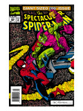 The Spectacular Spider-Man No200 Cover: Spider-Man and Green Goblin Smashing