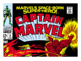 Captain Marvel No2 Cover: Super Skrull and Captain Marvel Swinging