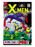 X-Men 35 Cover: Spider-Man  Beast  Cyclops  Marvel Girl  Iceman and Angel Jumping