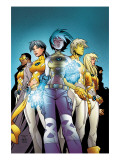 New X-Men No1 Cover: Ashido  Noriko  Wind Dancer  Prodigy and New X-Men Fighting