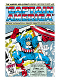 Marvel Comics Retro: Captain America Comic Panel; Smashing through Window; Red  White and Blue