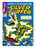 Marvel Comics Retro: Silver Surfer Comic Book Cover No2  Fighting  When Lands the Saucer!