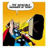 Marvel Comics Retro: Mighty Thor Comic Panel  Throwing Hammer