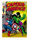 Marvel Comics Retro: Captain America Comic Book Cover No110  with the Hulk and Bucky