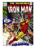Marvel Comics Retro: The Invincible Iron Man Comic Book Cover 25  Fighting Namor  Sub-Mariner