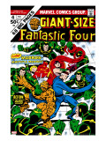 Giant-Size Fantastic Four 4 Cover: Madrox  Medusa  Mr Fantastic  Thing and Human Torch Fighting