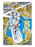 Marvel Comics Retro: Silver Surfer Comic Panel  Over the City