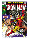 Marvel Comics Retro: The Invincible Iron Man Comic Book Cover No25  Fighting Namor  Sub-Mariner