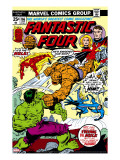 Fantastic Four N166 Cover: Hulk  Thing  Mr Fantastic  Invisible Woman and Human Torch Fighting