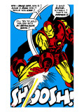 Marvel Comics Retro: The Invincible Iron Man Comic Panel  Fighting and Shooting  Shoosh!