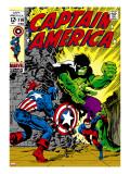 Marvel Comics Retro: Captain America Comic Book Cover No110  with the Hulk and Bucky