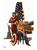 Captain America 49 Cover: Falcon  Carter and Sharon