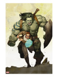 Incredible Hulk 601 Cover: Banner  Bruce and Skaar Stretching