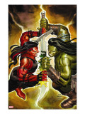 Incredible Hulk 607 Cover: Red She-Hulk and Skaar