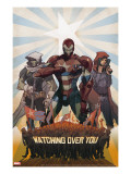 Avengers: The Initiative No26 Cover: Iron Patriot  Task Master and The Hood Fighting