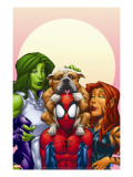 Marvel Adventures Super Heroes 13 Cover: Spider-Man  She-Hulk and Tigra