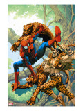 Marvel Age Spider-Man No14 Cover: Spider-Man and Kraven the Hunter Fighting and Flying