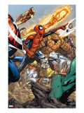 Spider-Man & The Secret Wars 3 Group: Spider-Man  Colossus  Thing  Iron Man and Human Torch