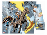 Alpha Flight No8 Group: Major Mapleleaf  Storm  Thor and Human Torch