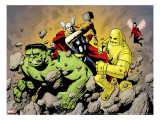 Avengers Finale 1 Group: Hulk  Thor  Iron Man  Wasp and Avengers Fighting