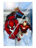 Invincible Iron Man No7 Cover: Iron Man and Spider-Man