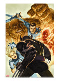 Dark Wolverine 76 Cover: Invisible Woman  Thing  Mr Fantastic and Human Torch Fighting