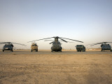 US Military Vehicles and Aircraft Lined Up on the Taxiway at Camp Speicher  Iraq