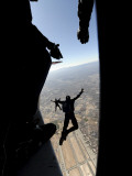 US Air Force Academy Parachute Team Jumps Out of an Aircraft over Nellis Air Force Base  Nevada