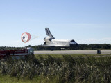 Space Shuttle Atlantis Unfurls its Drag Chute Upon Landing at Kennedy Space Center  Florida