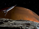 A Spaceship in Orbit over Mars Moon  Phobos  with the Red Planet Mars in the Background