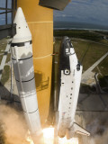 Space Shuttle Atlantis Lifts Off from its Launch Pad at Kennedy Space Center  Florida