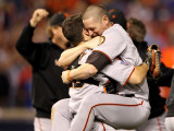 Texas Rangers v San Francisco Giants  Game 5:  Buster Posey  Aubrey Huff