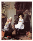 Two Girls Dressing a Doll