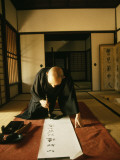 A Zen Abbot Practices Calligraphy in the Daitokuji Temple