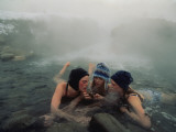 High School Friends Enjoy a Thermal Spring Near Gardiner  Montana