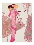 Woman In Pink Dress Giclée par Georges Barbier