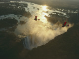 Ultralights Fly over Mile-Wide Victoria Falls on the Zambezi River