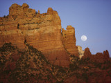 The Moon Rises over the Canyon as the Sun Leaves a Golden Glow