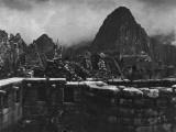 Machu Picchu Ruins on a Semicircular Tower and Masonry Walls
