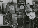 Man Testing Early Television Equipment